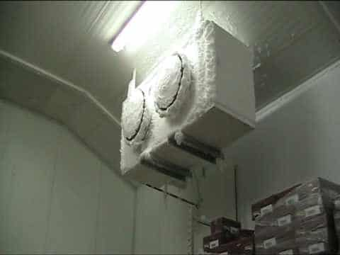 Ice crystals on a freezer room cooling unit - Allen Air & Refrigeration Freezer defrost Schedules